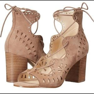 Nude Lace-Up Suede Heeled Sandals